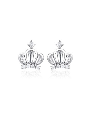Tophills Diamond Co. 1 Ct Pırlanta Efekt Altın Chic Crown Küpe Renkli